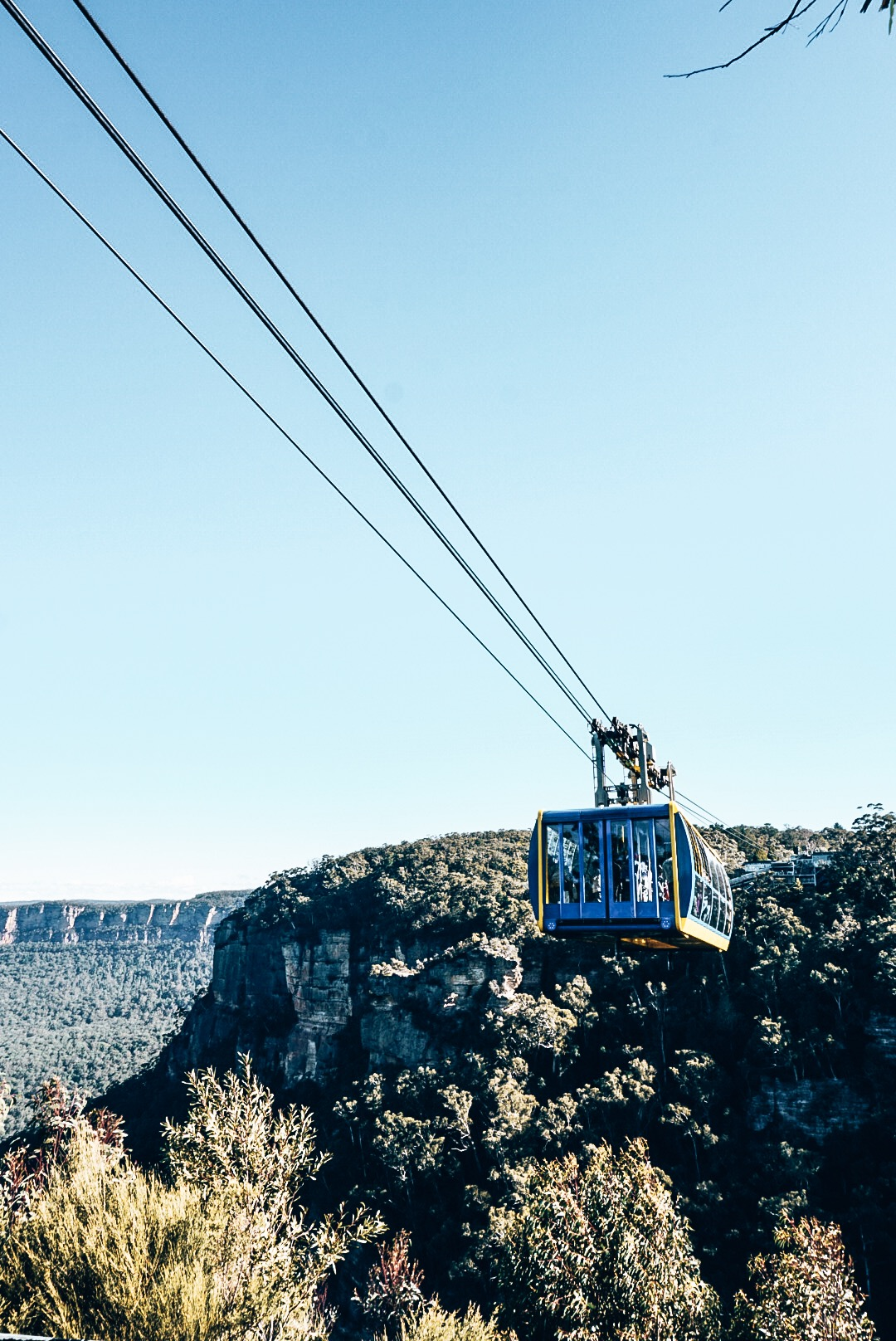 View of sky cable coming to stop in Blue Mountains
