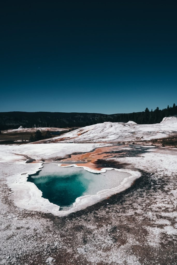 Hot spring in upper geyser basin of Yellowstone