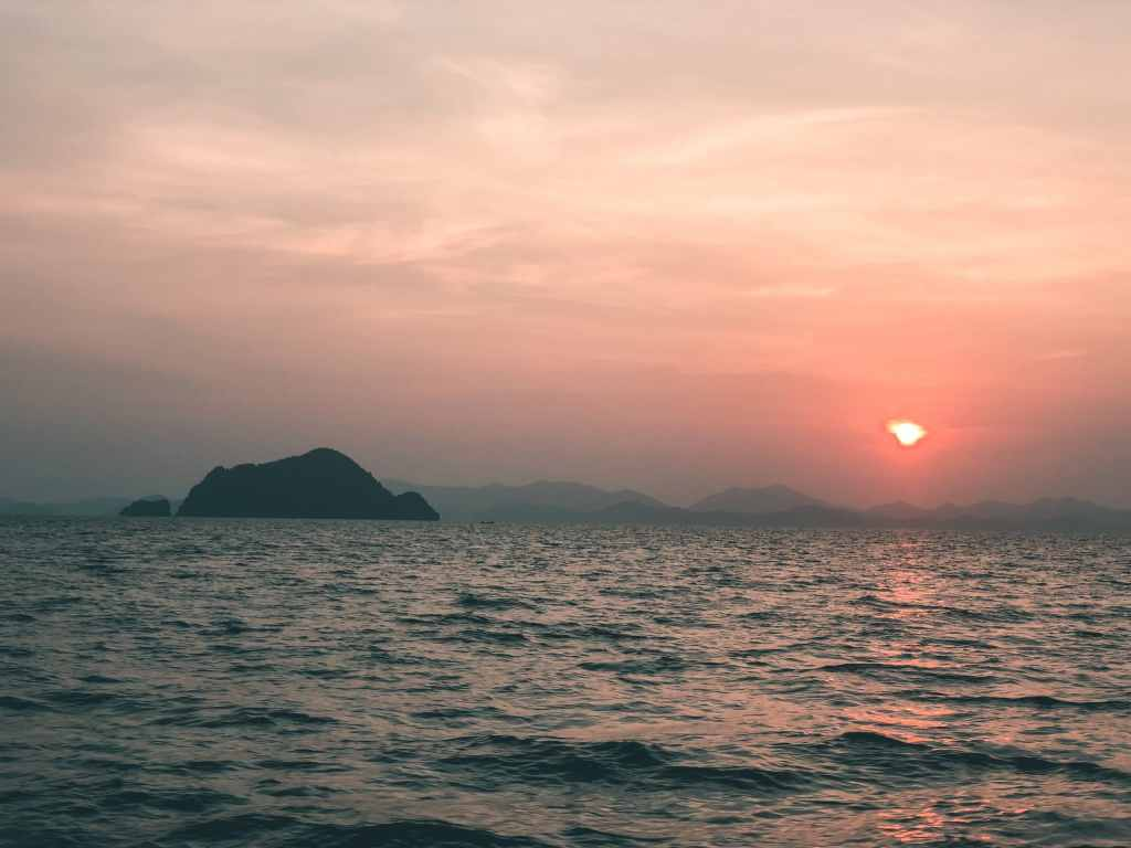 Sunrise on the boat looking out to the Phi Phi Islands