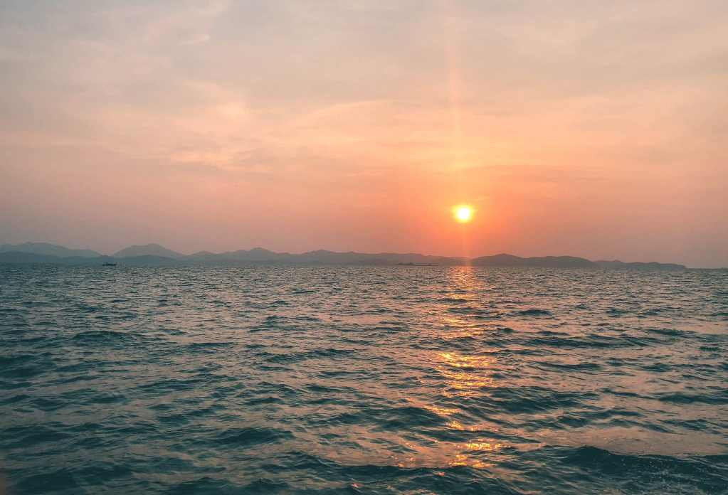 Sunrise on the boat looking out to the Phi Phi Islands again