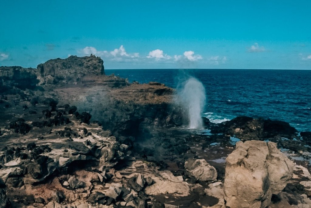 View of the blowhole blowing along the coast
