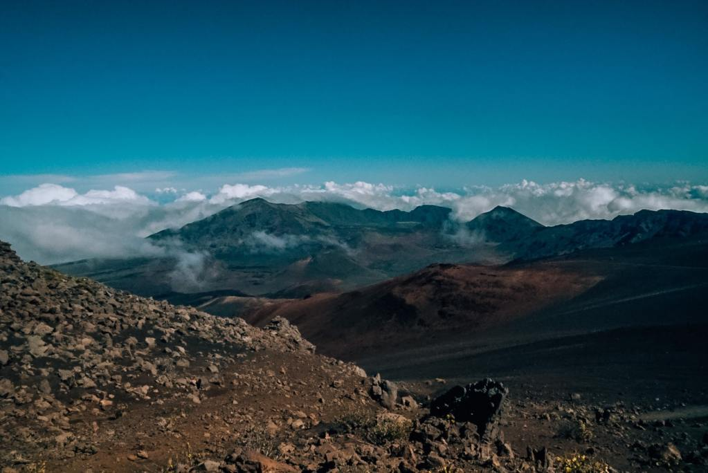 Views of Haleakala crater from the top of the summit area
