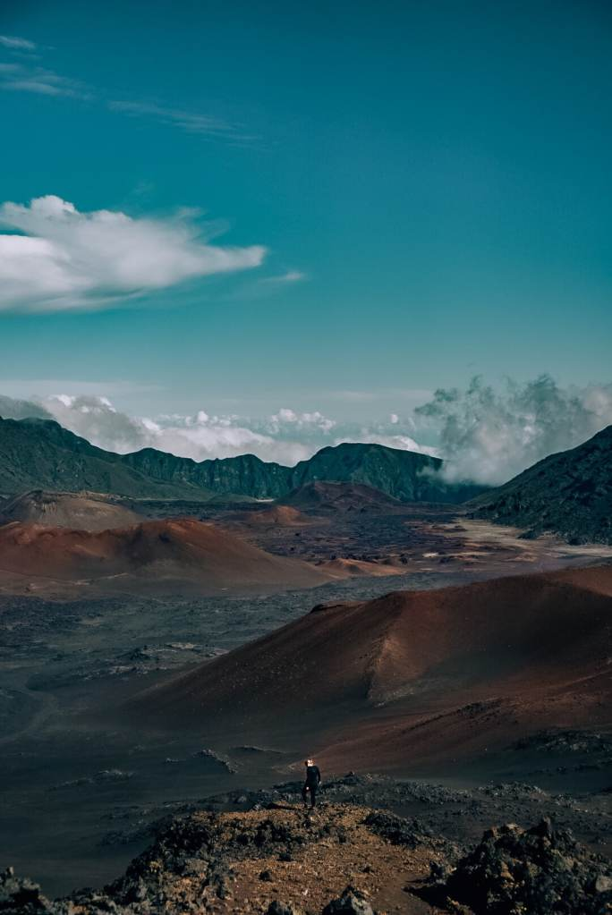 Woman standing in the crater at Haleakala