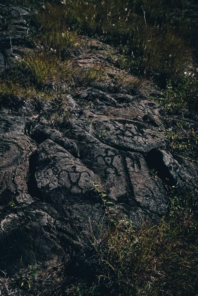 Shot of the petroglyphs at Volcanoes National Park