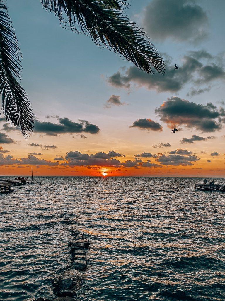 Sunset in Caye Caulker over the ocean