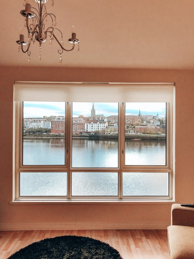 View of the river in Londonderry, Northern Ireland from inside an apartment