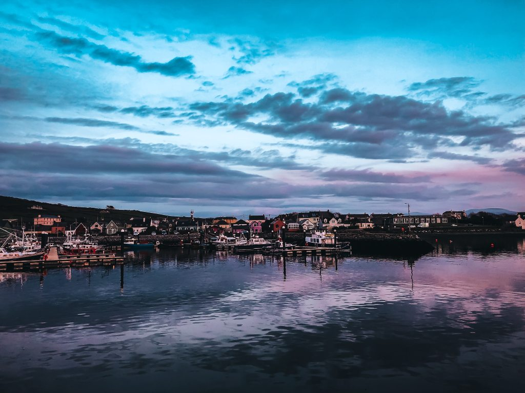 sunset at the Dingle marina