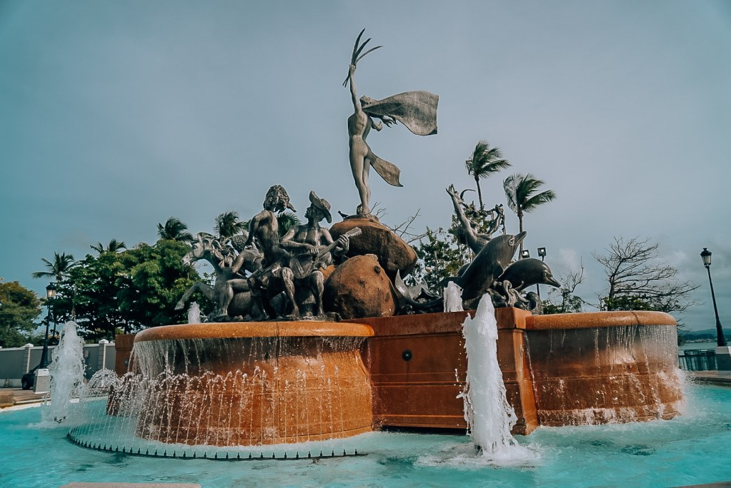 Picture from behind the fountain at El Paseo De La Princesa in Old San Juan