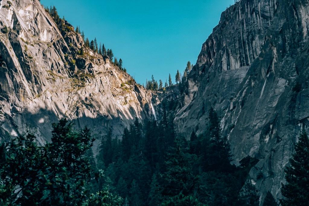 Far away shot of Bridalveil Falls in Yosemite
