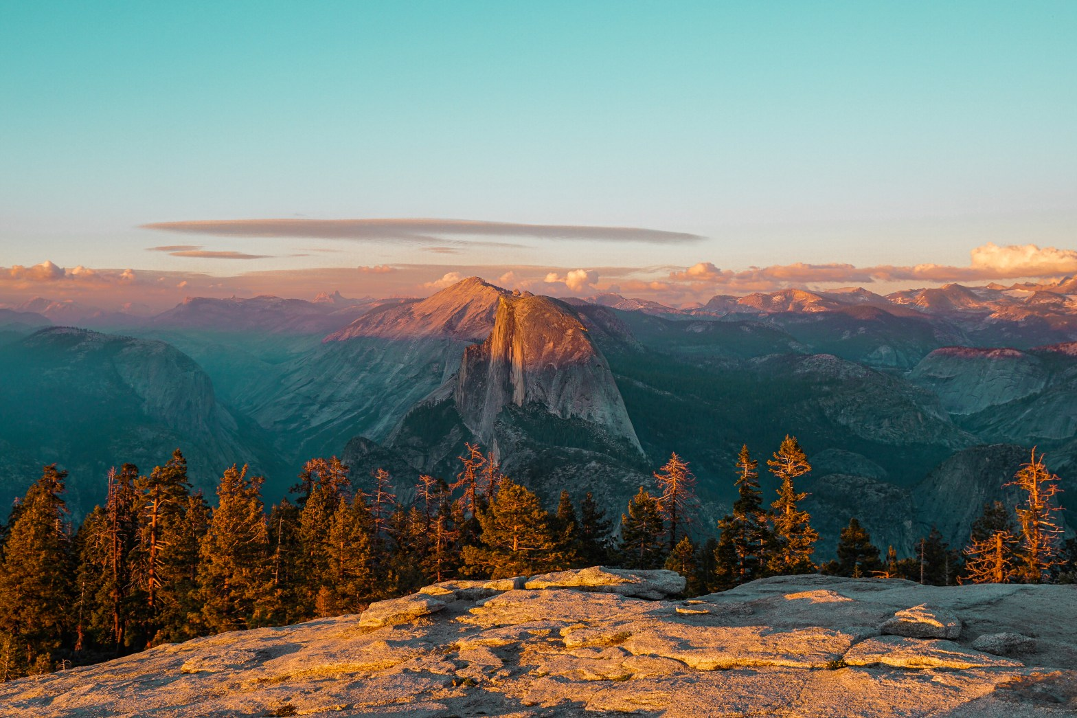 View of Half Dome from the top of Sentinel Dome in Yosemite at sunset