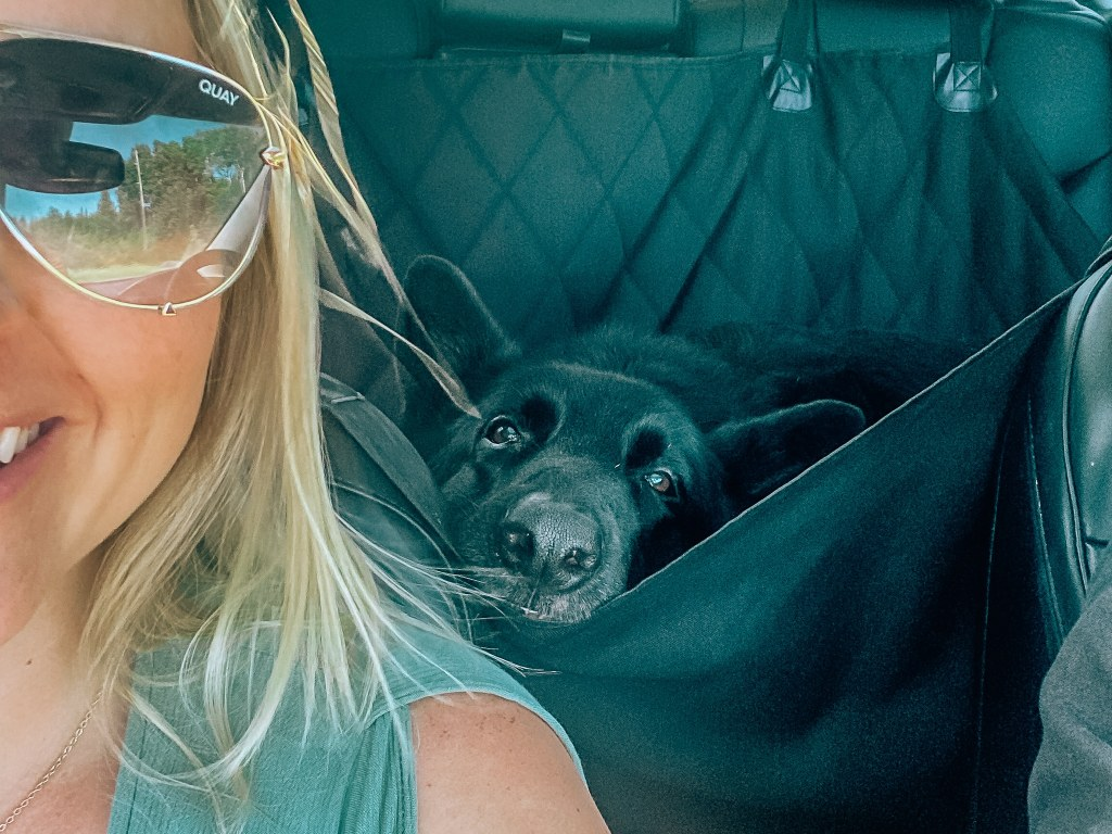 Woman and dog both looking at the camera; woman is smiling and dog is resting his head on the dog hammock in the back seat of the car