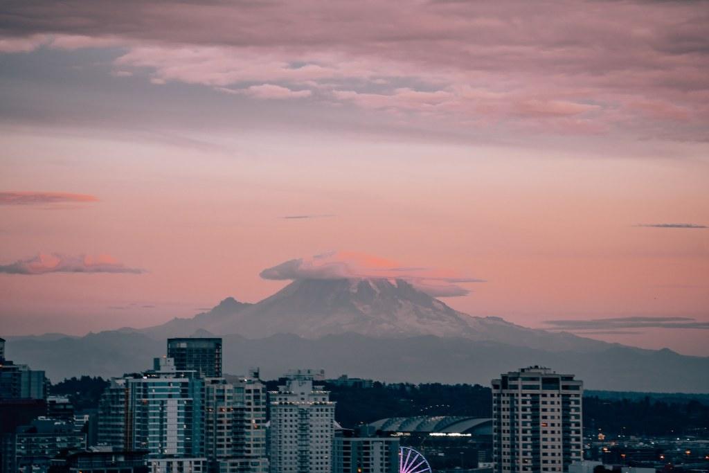 Mount Rainier during sunset