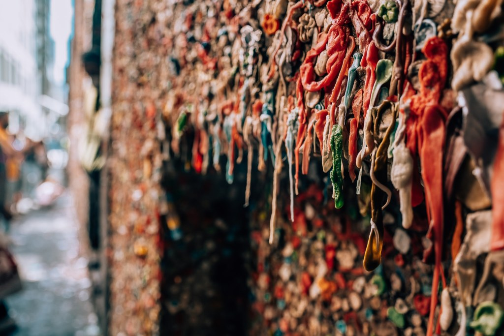Up close of the chewed and stretched gum on the iconic gum wall in Seattle, Washington