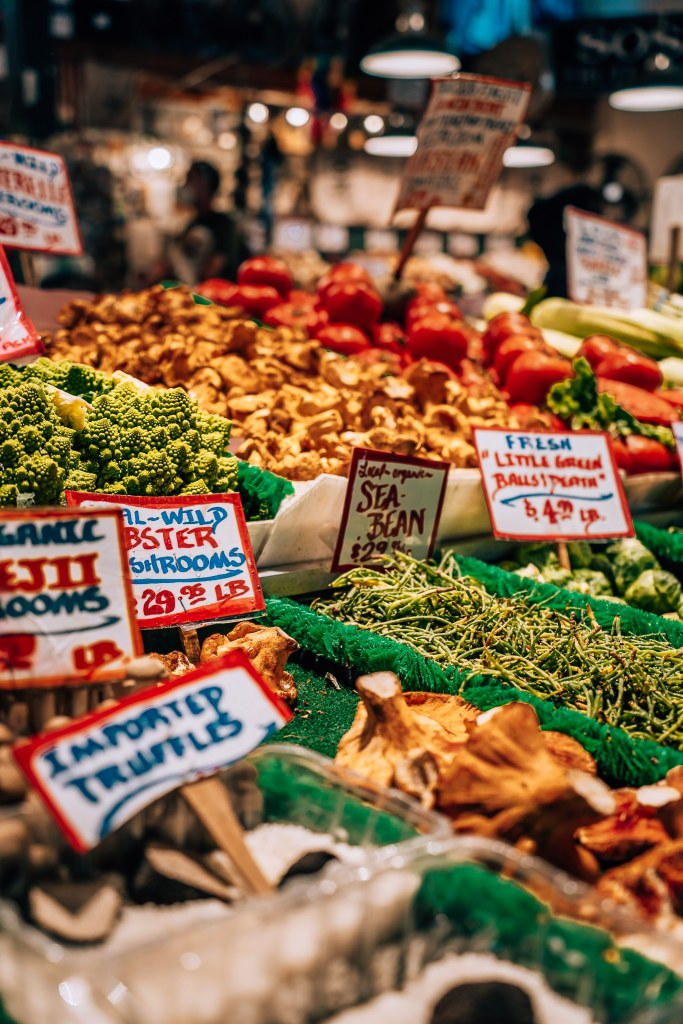 Up close picture of different types of vegetables at Pike's Place Market in Seattle, Washington